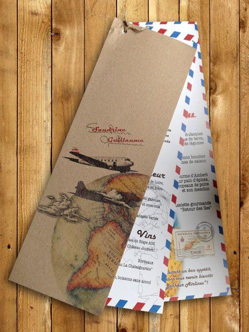 Menu de mariage en papier recyclé theme voyage, explorateur Wedding menu, recycled paper, travel theme