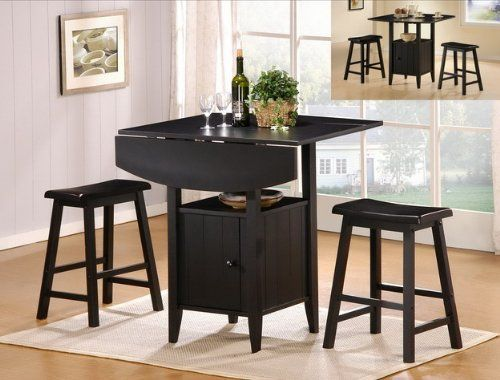 3 Pc Black Finish Counter Height Drop Leaf Pub Set With Saddle Stools    Http: