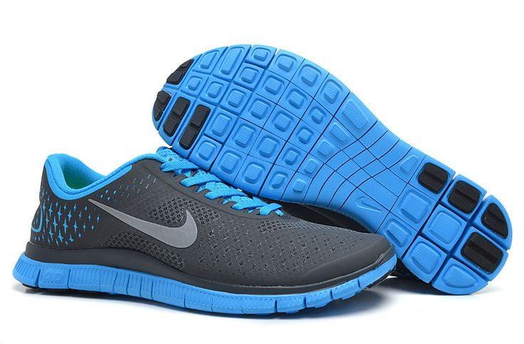 Anthracite Reflect Silver Blue Glow Nike Free 4.0 V2 Men\u0026#39;s Running Shoes