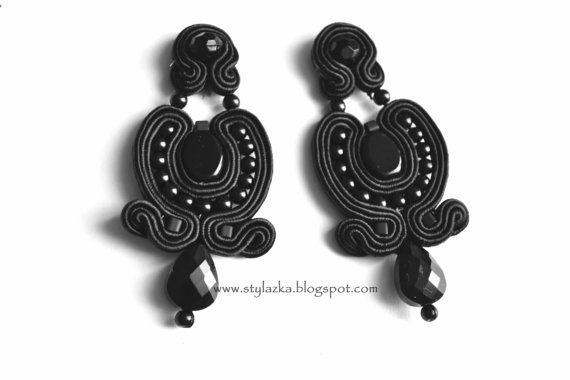 Black earrings  Soutache by StylazkaSoutache on Etsy