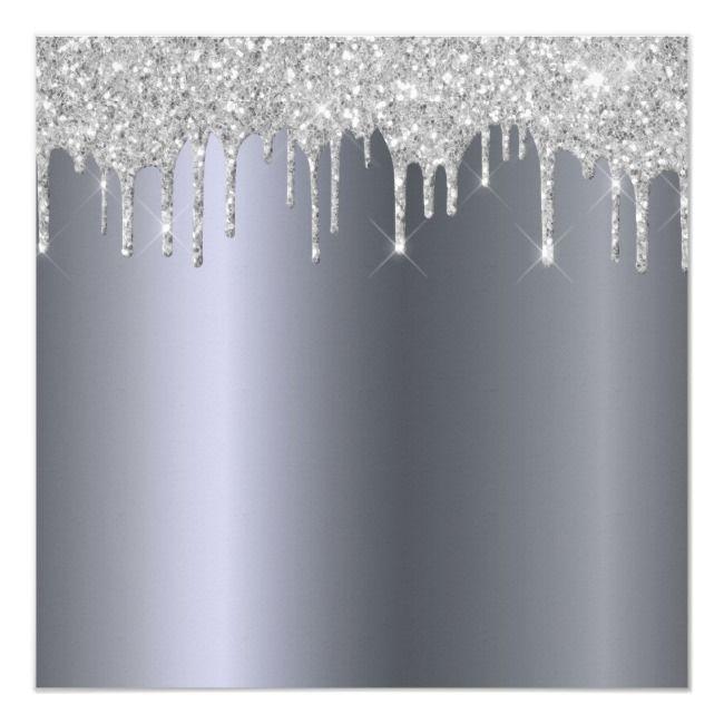 Sweet 16th Birthday Burgundy Silver Glitter Drip Invitation Zazzle Com White Glitter Background Silver Glitter White And Silver Wallpaper