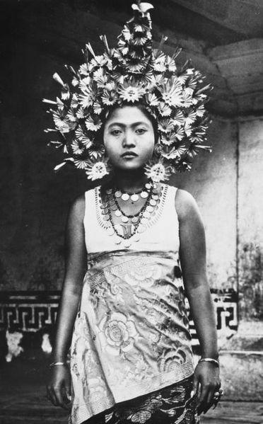 Amazing headdress of a Balinese dancer, 1920-1934