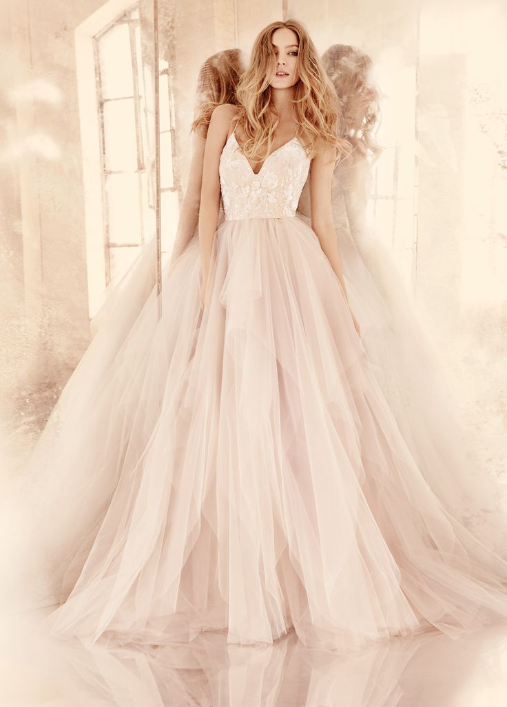 NicolettaAlabaster tulle bridal ball gown with floral beaded ballet bodice, V-neckline and spaghetti straps with crisscross at back, full tiered tulle skirt.