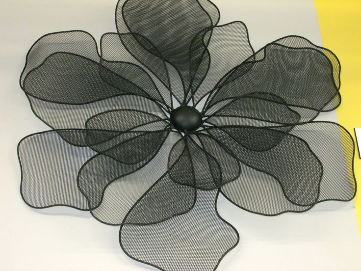 "Black Wire Flowers for the wall! aprx 20"" w"