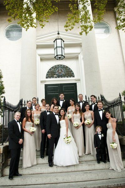 Champagne bridesmaid dresses and black tuxes! This looks solo good. Men in plain black and white***