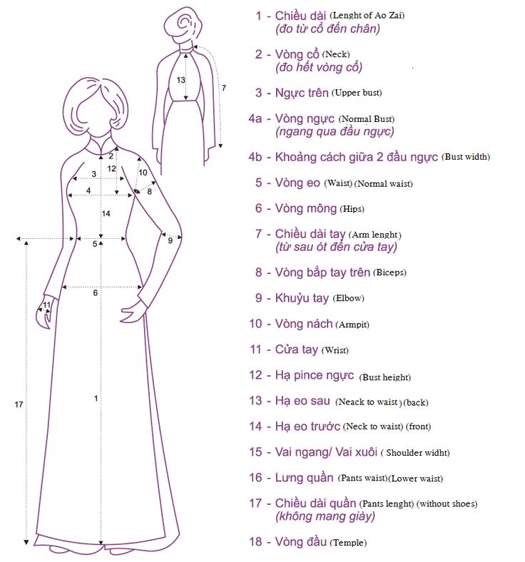 Ao Dai Measurements with English Translation