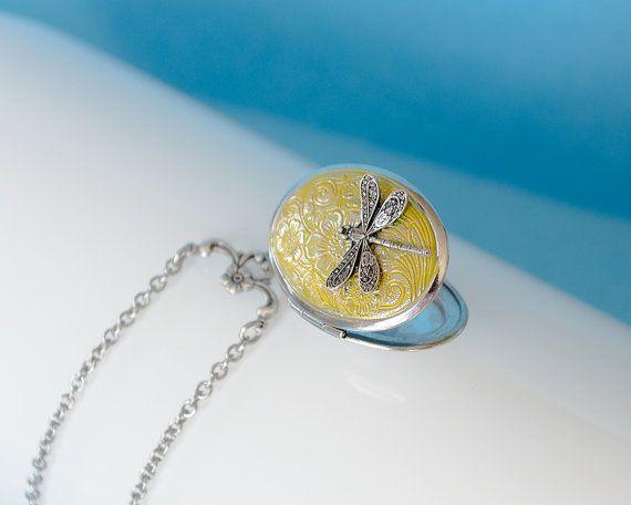 Dragonfly Locket Antique Silver Locket by SkeltonsTreasures