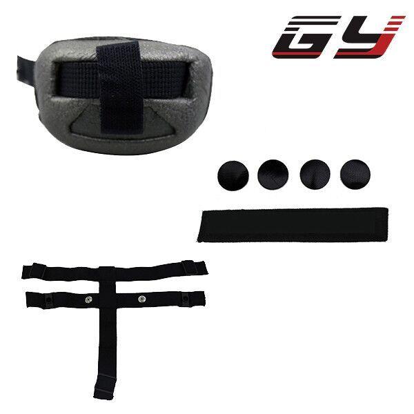 Goalie masker aksesoris hitam bagian (keringat band, dagu penjaga dan tali) untuk ice hockey kiper helm