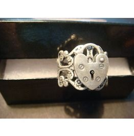 Heart Lock Ring Antique Silver
