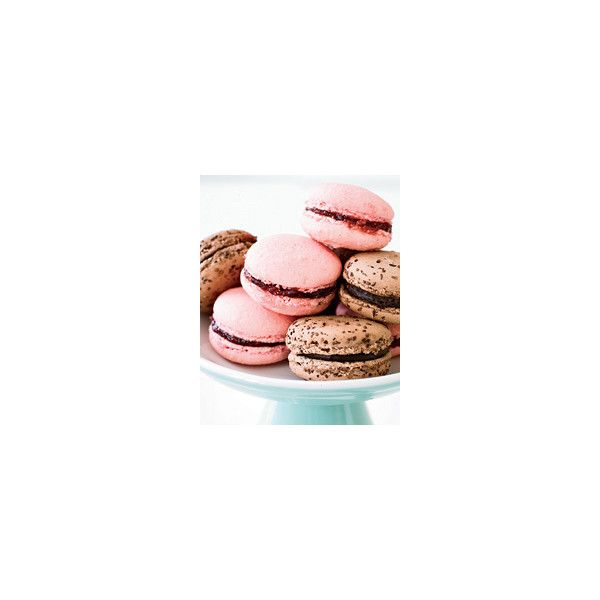 Raspberry Macarons French Desserts ❤ liked on Polyvore featuring food, backgrounds, macarons, macaroons and photos
