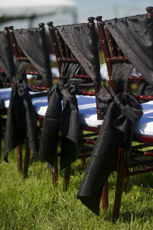Dramatic black chair covers!