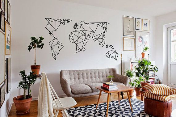 Geometrische World Map-Wallsticker Edgy von TotalVinylDesign