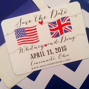 union jack and american flag save the date from haymarket designs