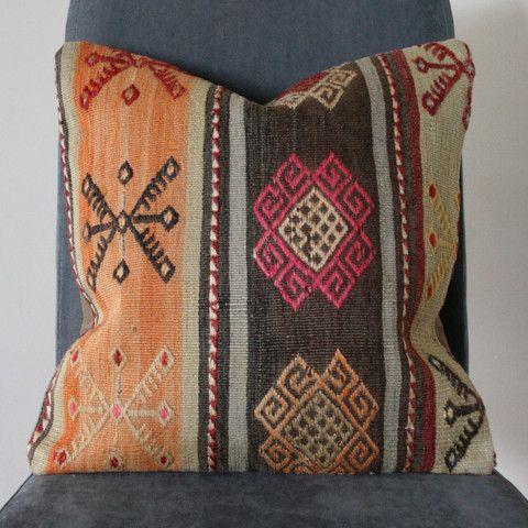 Anatolian Motif Faded Kilim Cushion