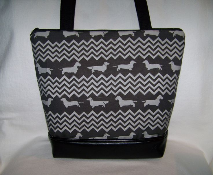 Dachshund Chevron Purse with Smooth, Long and Wire Hair Dachshunds - Wiener Dog - Handbag-Purse by OscarsCreations on Etsy