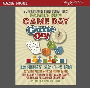 Game Night Poster Fun Dice Template Church School Community Movie And Bingo Flyer Invitation