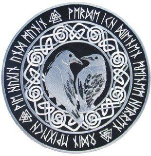 gestickter Rückenaufnäher Hugin und Mugin Odins Raben mit Runen in schwarz/weiß