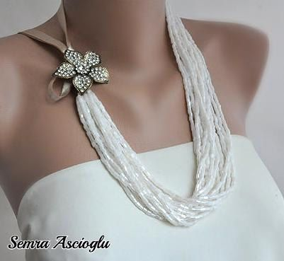 Handmade Weddings Bridal  Ivory Necklace with Swarovski Crystals Brooch