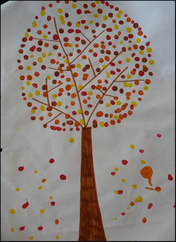 Herfst-knutsels, stempelen met wattenstaafjes