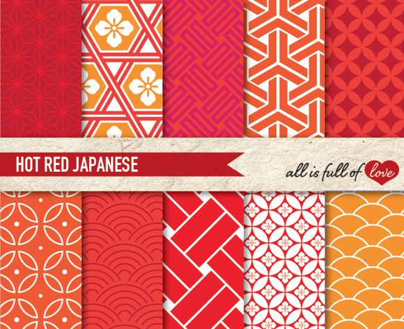 Red Hot Japan Illustration Packs ~ Patterns on Creative Market