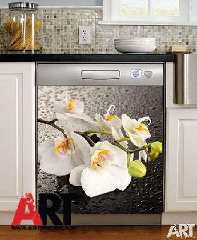 Mosogatógép mágnes matrica  Fehér orchidea virág konyhai dekor