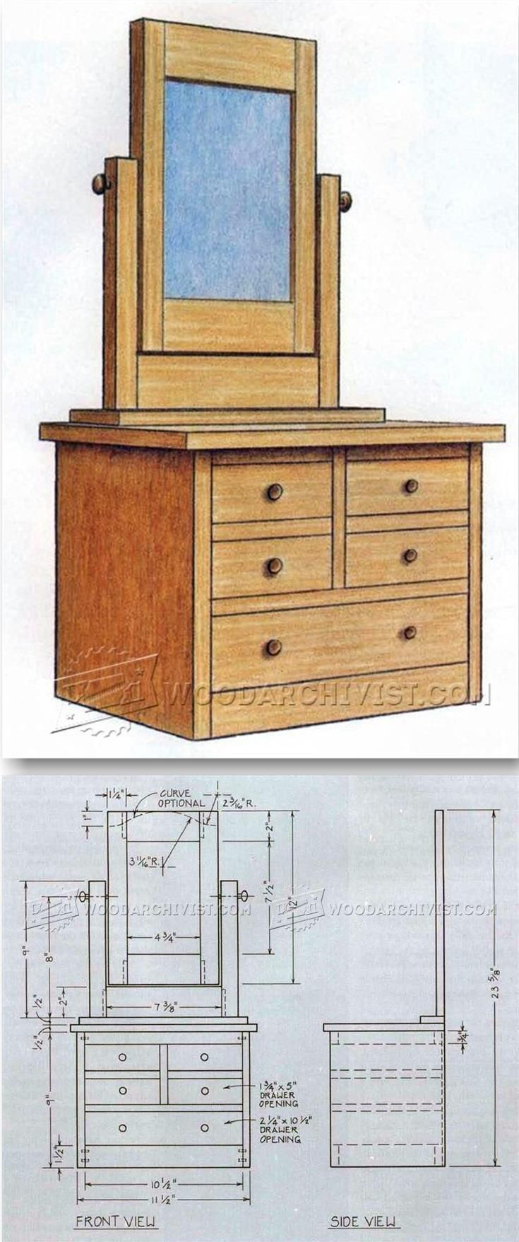 Vanity Dresser Plans - Furniture Plans and Projects   WoodArchivist.com