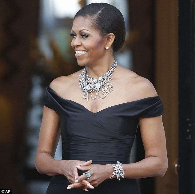 First Lady of Bling: Michelle shines at U.S. party attended by David Beckham…