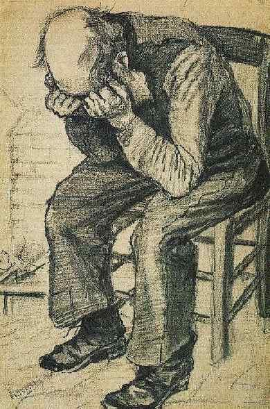 Vincent van Gogh - Worn Out (F997) - This drawing seems to me to be more about sadness than being worn out. I wonder about hanging a print of this because it's thought- or feeling-provoking about what the man is going through.