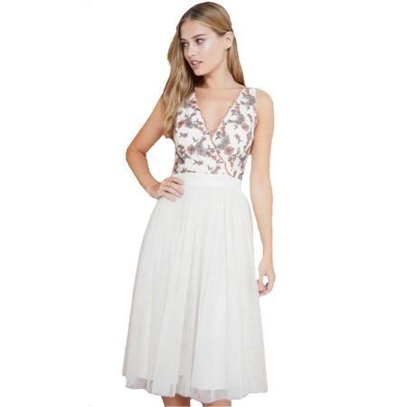 Úchvatné smetanové šaty s květinovým živůtkem LITTLE MISTRESS velký