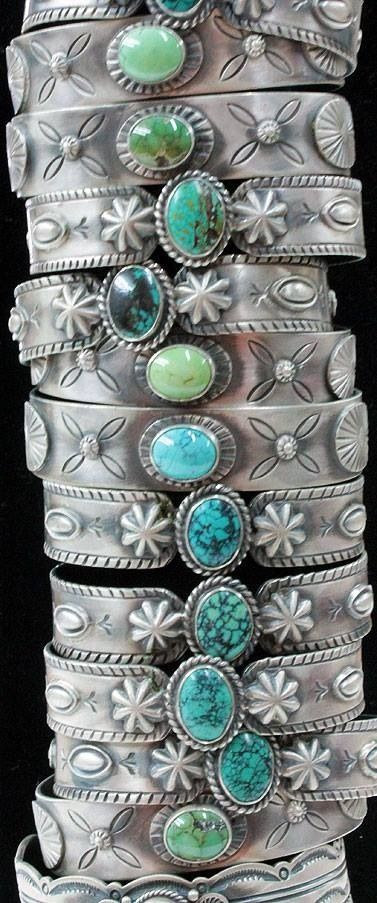 Stacked  production Turquoise cuff Bracelets from the 1940's for the Route 66 Tourist trade