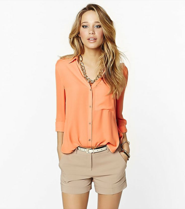 Look fabulous when the sun's out with this fresh coral blouse!