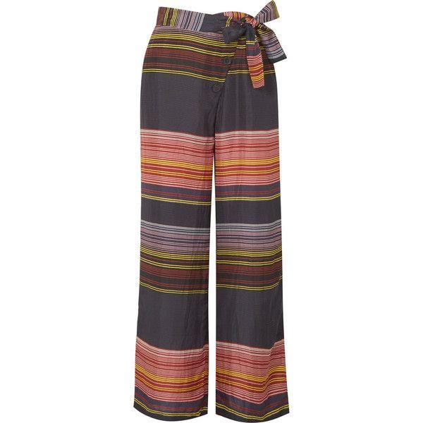 APIECE APART Raka striped silk-habotai wide-leg pants ($395) ❤ liked on Polyvore featuring pants, pink, pink pants, colorful pants, fold pants, pink wide leg trousers and wide leg trousers