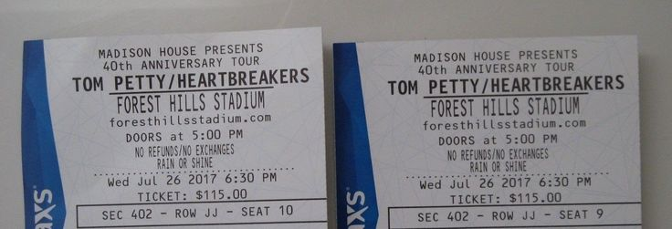 #tickets 2 Tom Petty and the Heartbreakers concert tickets Forest Hills NYC NY 7/26 please retweet