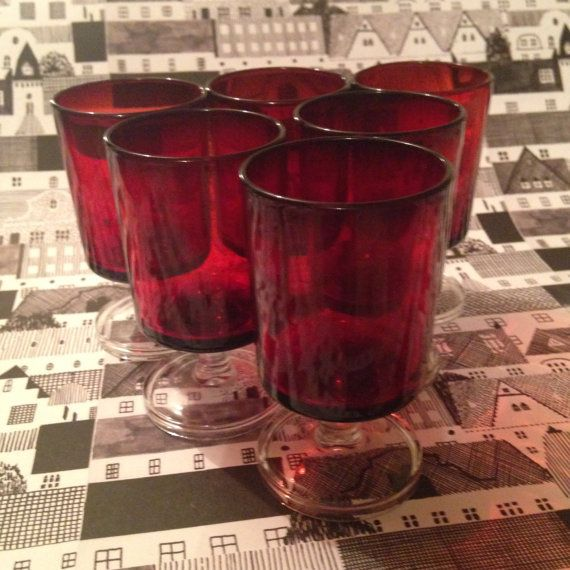 Luminarc Ruby Red French small stemmed wine brandy shot vintage Glasses on Etsy, £15.50 Christmas tableware or gift