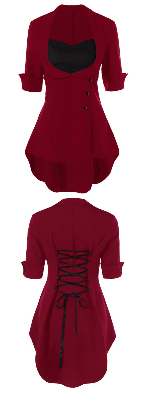 red top outfit for women:High Low Hem Lace Up Blouse