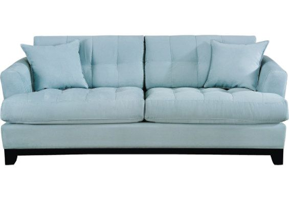 cindy crawford light blue sofa skyler mid century modern style linen sleeper futon hydra - this is the couch i have, though true ...