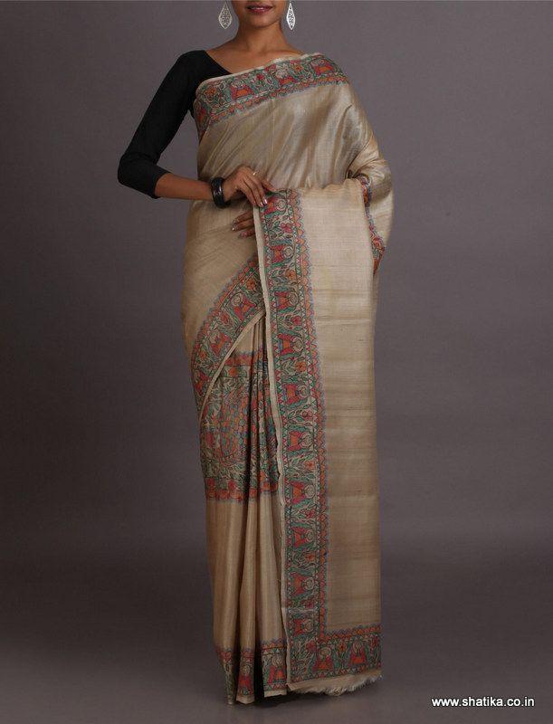 Shanti Madhubani Naturally Dyed and Hand-Painted #KalamkariPureCottonSaree