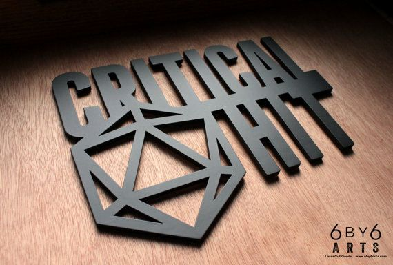 Critical Hit  Dungeons and Dragons Laser Cut Wood Wall by 6by6Arts