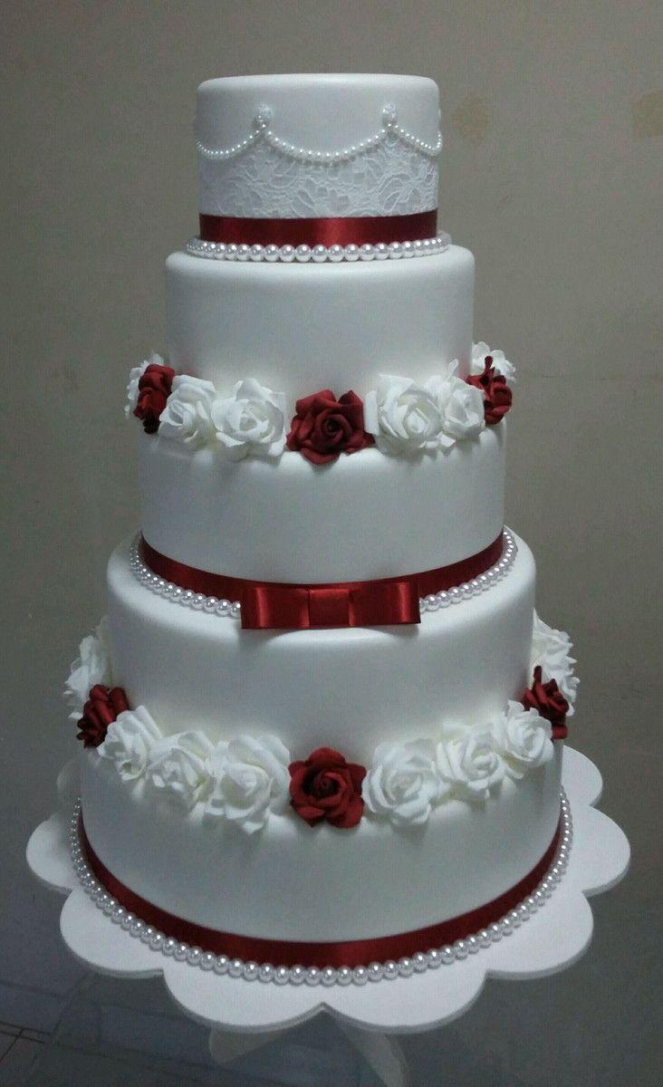 Bolo Casamento Branco 5 Andares Flores Brancas Rosa Azul Beg