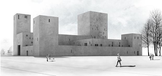 Project of church in Wroclaw, Poland. Competition entry. Nowe Zerniki estate.   Authors: OVO Grabczewscy Architekci Marta Lata Dobrochna Lata Mateusz Pietryga Łukasz Migała