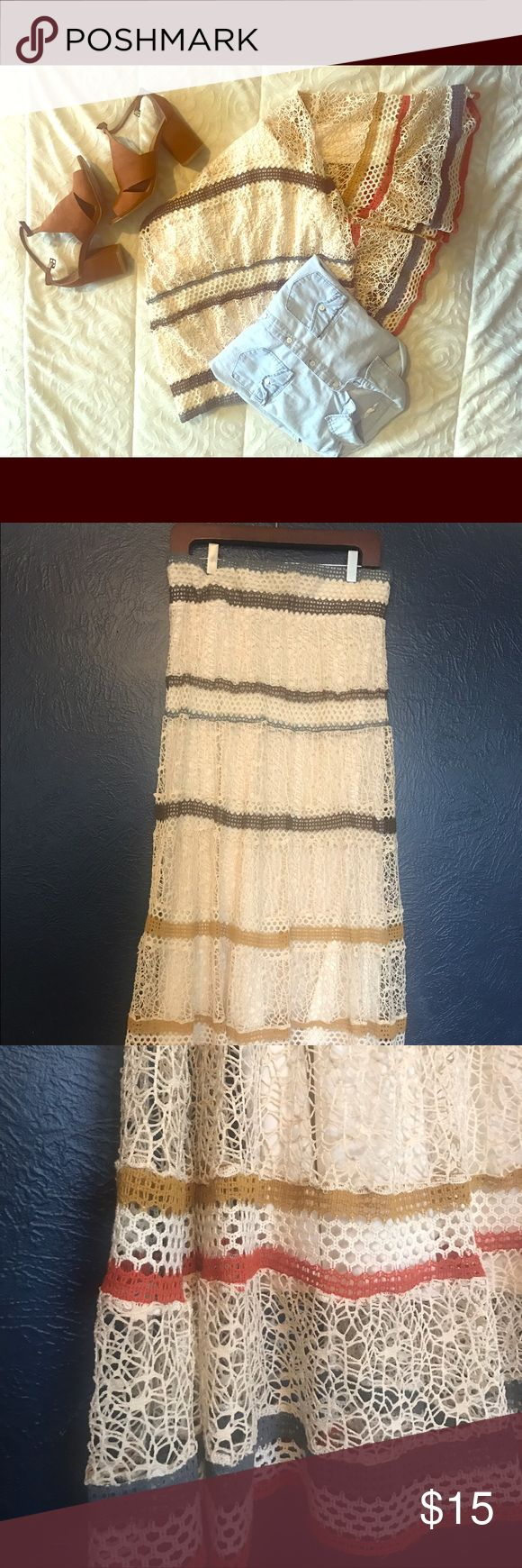 Lace Maxi skirt Lacy maxi skirt! Great for beach adventures. Lapis Skirts Maxi