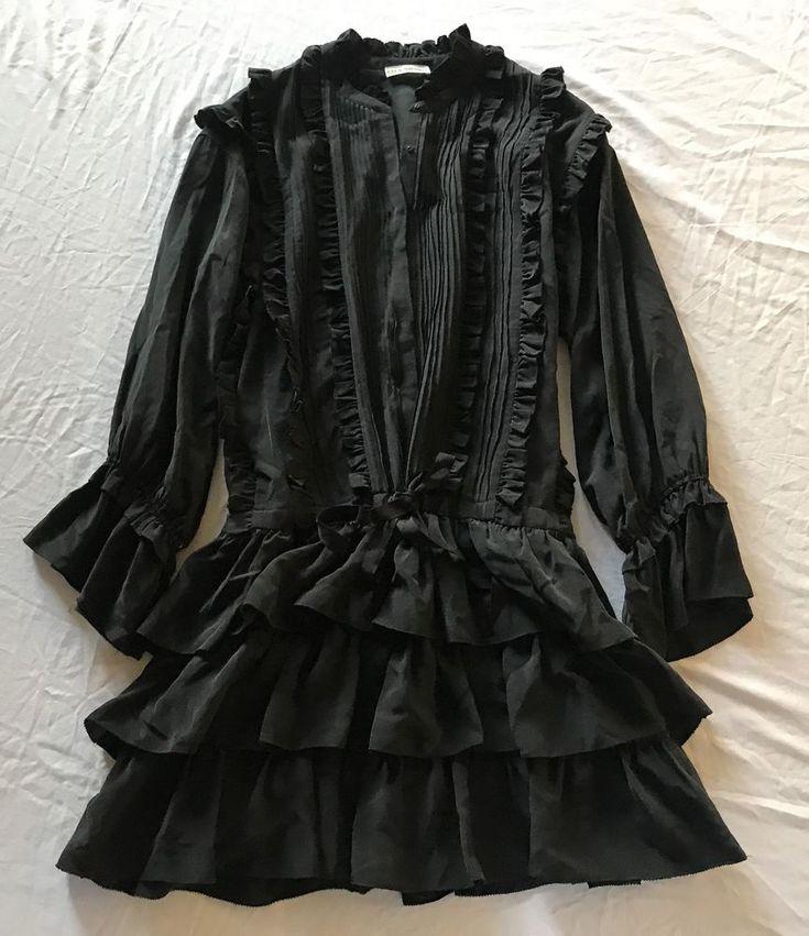 ~ ULLA JOHNSON BLACK RUFFLED SILK LONG SLEEVE DRESS (IN STORES NOW!) ~ 2 #UllaJohnson #DRAWSTRINGWAIST