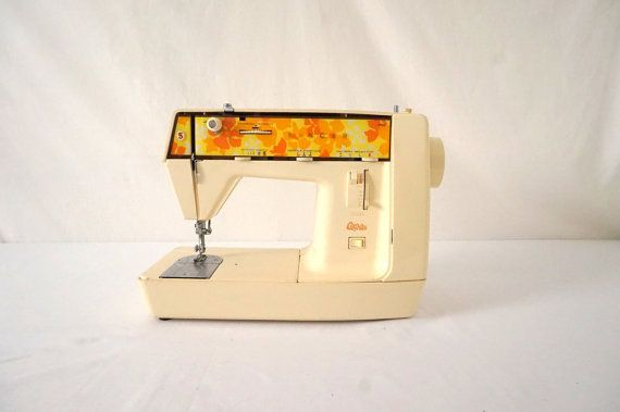 This vintage Genie sewing machine from singer has a lot of 70s pizzazz, guaranteed to bring a smile to your face while you sew. Ive used it for