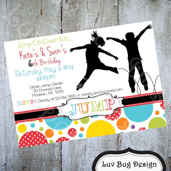 Trampoline Party Invitation Printable Party By