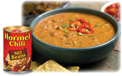 Hormel Chili Cheese Dip -  1 can of Hormel Chili (no beans), and 1 box of cream cheese. You can add shredded cheese If you like. Mix it all together and warm it up on the stove!