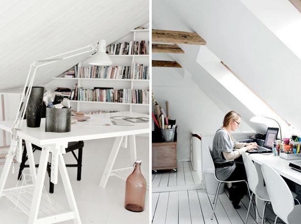Attic office home office kantoor op zolder studiekamer op zolder