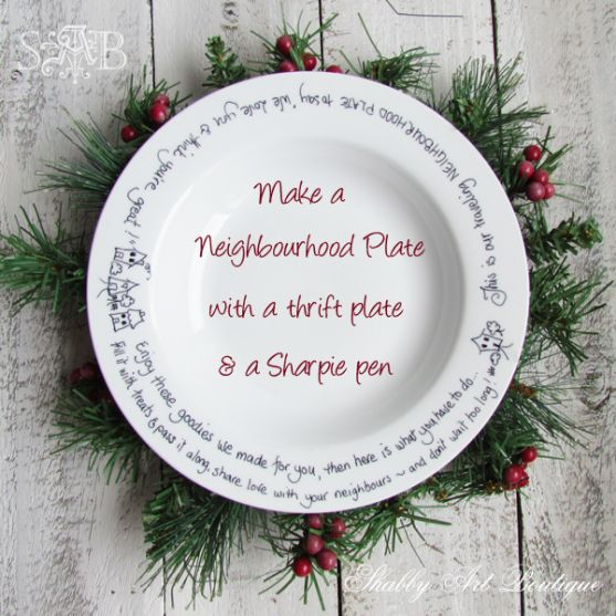 Shabby Art Boutique neighbourhood plate - sharpie pen and pop in oven