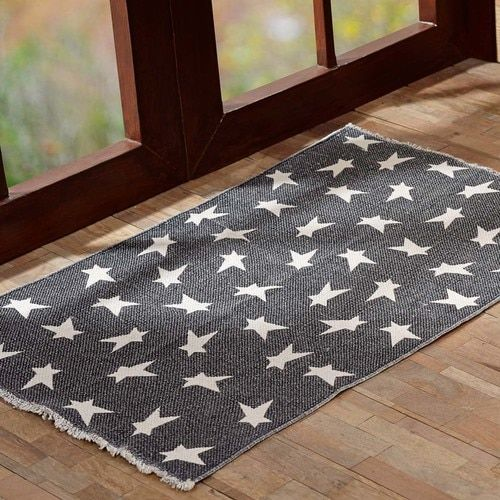 Black Primitive Star Rug Rect 20x30