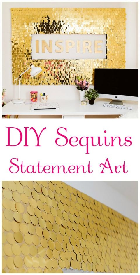 DIY Sequins Statement Art  YES!! A must do for my new office.  Hmmm..maybe more one.