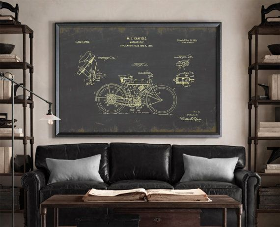 Vintage Motorcycle Patent print. Similar to Restoration Hardware's Motorcycle Patent Document but not affiliated with or produced by them. Many sizing options available at a fraction of the price!